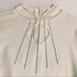 Reba S Sweater Cage Neck Embellished Long Sleeve